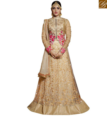 STYLISH BAZAAR ONLINE SHOPPING CREAM NET HEAVY EMBROIDERED LEHENGA CHOLI WITH BAND NECK SLARD11111