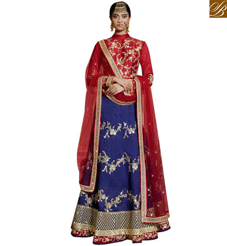 STYLISH BAZAAR BEAUTIFUL RED AND BLUE SILK DESIGNER LEHENGA CHOLI CONTAIN WELL EMBROIDERY SLARD11112