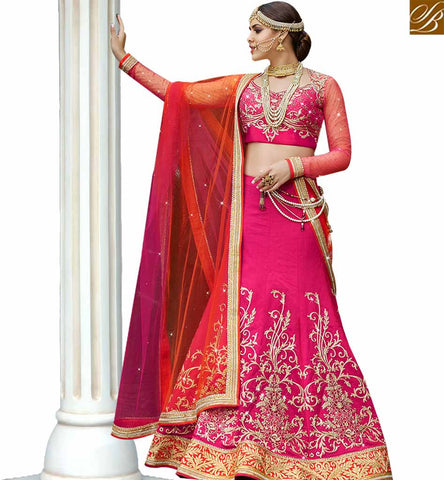 STYLISH BAZAAR GRACEFUL PINK SATIN NET HAVING REMARKABLE RESHAM EMBROIDERED LEHENGA CHOLI SLARD11113