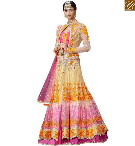 STYLISH BAZAAR INVITING PINK AND CREAM NET SILK CONTAIN PERSONIFIED EMBROIDERED LEHENGA CHOLI SLARD11114