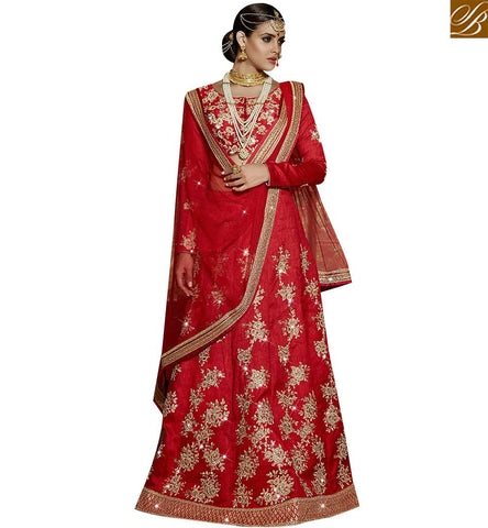 STYLISH BAZAAR SHOP AMAZING RED SILK DESIGNER LEHENGA CHOLI WHICH CONTAIN GLORIOUS EMBROIDERY SLARD11115