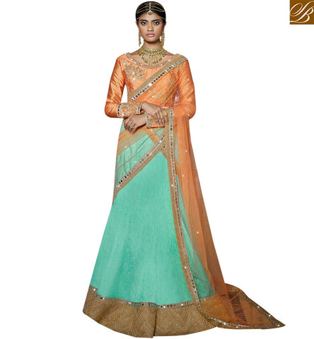 STYLISH BAZAAR WONDERFUL ORANGE AND PISTA GREEN DESIGNER LEHENGA CHOLI HAVING MIRROR WORK SLARD11116