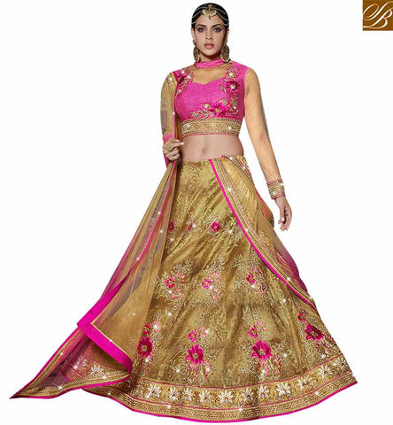 STYLISH BAZAAR DELIGHTFUL PINK AND BEIGE SILK NET LEHENGA CHOLI HAVING WELL FLORAL EMBROIDERY SLARD11117