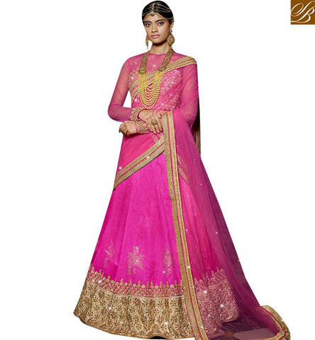 STYLISH BAZAAR DAZZLING PINK SILK NET DESIGNER LEHENGA CHOLI HAVING ATTRACTIVE LACE BORDER WORK SLARD11118