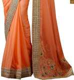 DESIGNER PEACH COLORED SARI WITH LOVELY BLOUSE FROM THE HOUSE OF STYLISH BAZAAR RTHYC9404