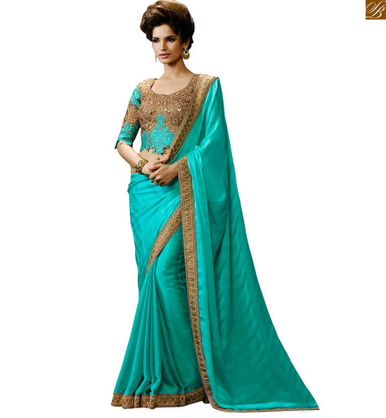 SEA GREEN DESIGNER PARTY WEAR SARI FROM STYLISH BAZAAR RTHYC9403