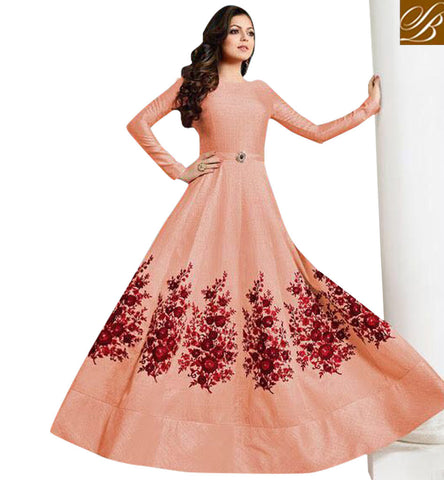 STYLISH BAZAAR MADHUBALA AKA DRASHTI DHAMI IN SILK ANARKALI SUIT LATEST BOLLYWOOD WEDDING COLLECTION ONLINE FOR WOMEN LTNT1001