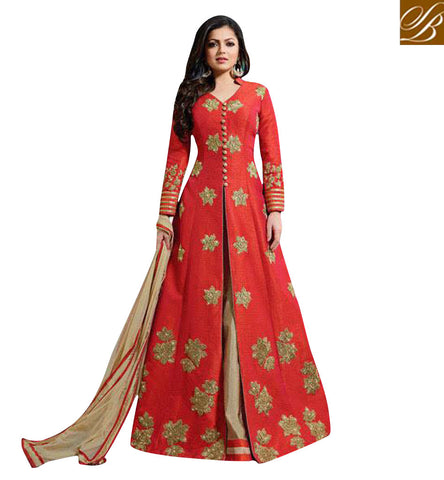 STYLISH BAZAAR BUY EK ISHQ EK JUNOON FAME DRASHTI DHAMI'S DESIGNER RED ANARKALI ONLINE LATEST BOLLYWOOD FASHION LTNT1002