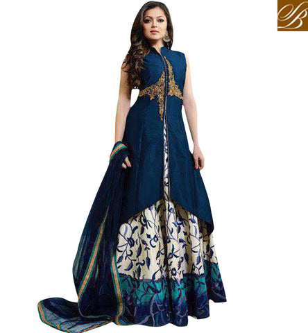 STYLISH BAZAAR DRASHTI DHAMI IN NAVY BLUE GOWN STYLE DRESS FOR WOMEN ONLINE LATEST STYLISH BOLLYWOOD COLLECTION LTNT1006