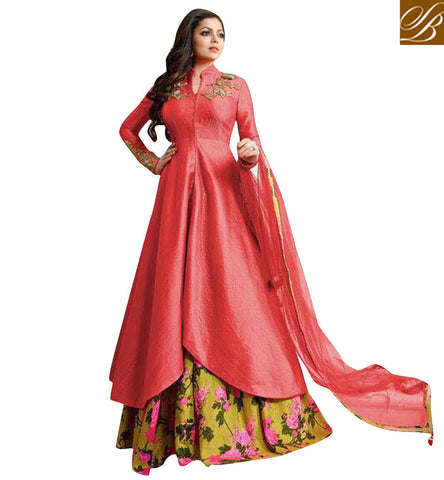 STYLISH BAZAAR NACH BALIYE 8 CONTESTANT DRASHTI DHAMI IN COLLAR NECK KAMEEZ AND LEHENGA FOR ENAGEMENT PARTY LTNT1010