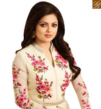 BROUGHT TO YOU BY STYLISH BAZAAR DAZZLING CREAM COLORED ANARKALI STYLE DESIGNER STRAIGHT CUT SUIT LTNT86003