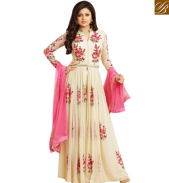 STYLISH BAZAAR DAZZLING CREAM COLORED ANARKALI STYLE DESIGNER STRAIGHT CUT SUIT LTNT86003