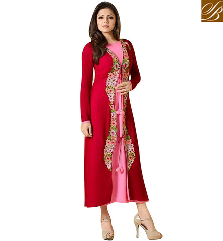 STYLISH BAZAAR SHOP RED AND PINK GEORGETTE DRASHTI DHAMI JACKET STYLE PARTY WEAR KURTI LTNT912