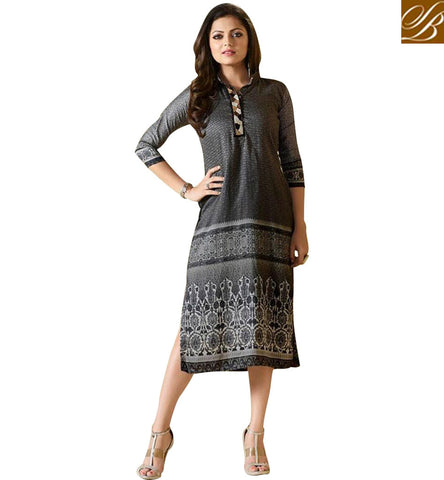 STYLISH BAZAAR ATTRACTIVE BLACK RAYON PRINTED COTTON CASUAL WEAR DRASHTI DHAMI KURTI LTNT913