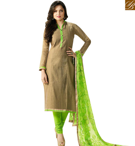 STYLISH BAZAAR BOLLYWOOD CELEBRITY DRASHTI DHAMI BEIGE CHANDERI CASUAL WEAR SALWAR SUIT LTNT92001