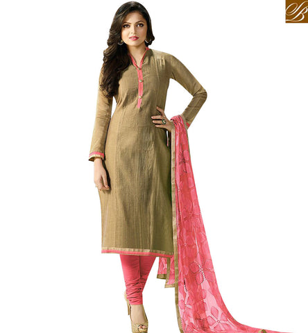 STYLISH BAZAAR SHOP DRASHTI DHAMI BEIGE CHANDERI CASUAL WEAR DESIGNER SALWAR SUIT LTNT92002