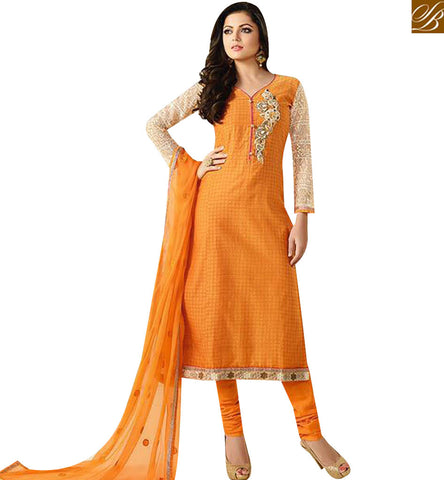 STYLISH BAZAAR WONDERFUL ORANGE CHANDERI STRAIGHT CUT CASUAL WEAR DRASHTI DHAMI SALWAR SUIT LTNT92007
