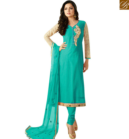 STYLISH BAZAAR AMAZING SEA BLUE CHANDERI EMBROIDERED STRAIGHT CUT CASUAL WEAR DRASHTI DHAMI SUIT LTNT92008