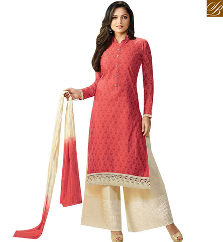 STYLISH BAZAAR BUY DAZZLING RED CHANDERI STRAIGHT CUT CASUAL WEAR DRASHTI DHAMI SALWAR SUIT LTNT92014
