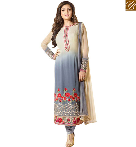 A STYLISH BAZAAR ELEGANT GREY AND CREAM GEORGETTE HAVING WELL FLOWER EMBROIDERY DRASHTI DHAMI SUIT LTNT94004