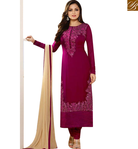 STYLISH BAZAAR WONDERFUL WINE GEORGETTE DRASHTI DHAMI STRAIGHT CUT SUIT WITH EMBROIDERY LTNT94005