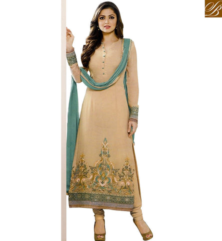 STYLISH BAZAAR INVITING BEIGE GEORGETTE OCCASION WEAR DRASHTI DHAMI WELL EMBROIDERED SUIT LTNT94006