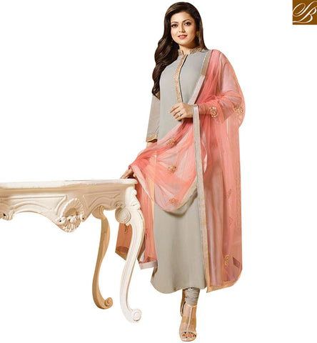 STYLISH BAZAAR PLEASING CREAM GEORGETTE BOLLYWOOD ACTRESS DRASHTI DHAMI STRAIGHT CUT SALWAR SUIT LTNT94008