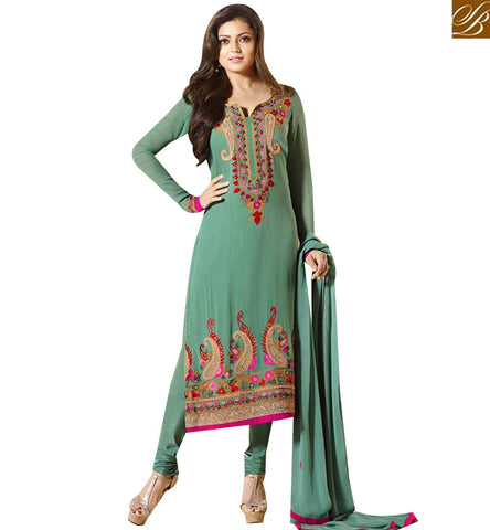 STYLISH BAZAAR DAZZLING GREEN GEORGETTE DRASHTI DHAMI LOVELY EMBROIDERED SALWAR SUIT LTNT94009