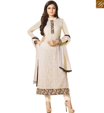 STYLISH BAZAAR BOLLYWOOD CELEBRITY DRASHTI DHAMI CREAM CHIFFON STRAIGHT CUT SALWAR SUIT LTNT94010