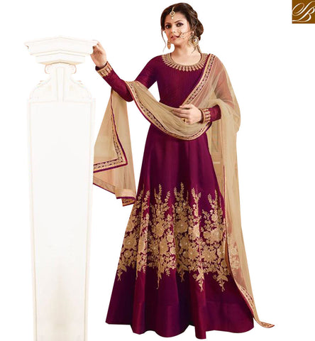STYLISH BAZAAR BOLLYWOOD CELEBRITY DRASHTI DHAMI MAGENTA  SILK HAVING WELL EMBROIDERED PARTY WEAR ANARKALI SUIT LTNT97001