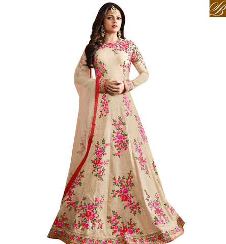 STYLISH BAZAAR BUY CREAM SILK DESIGNER DRASHTI DHAMI PARTY WEAR ANARKALI SUIT WITH FLOWER EMBROIDERY LTNT97002