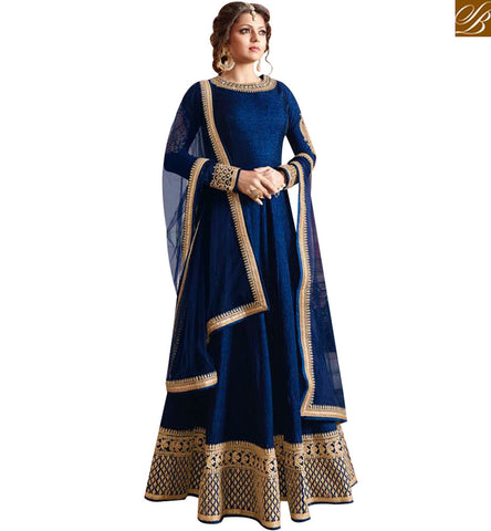 STYLISH BAZAAR ROYAL BLUE SILK DRASHTI DHAMI PARTY WEAR ANARKALI SALWAR SUIT WITH LOVELY EMBROIDERED BORDER LTNT97003