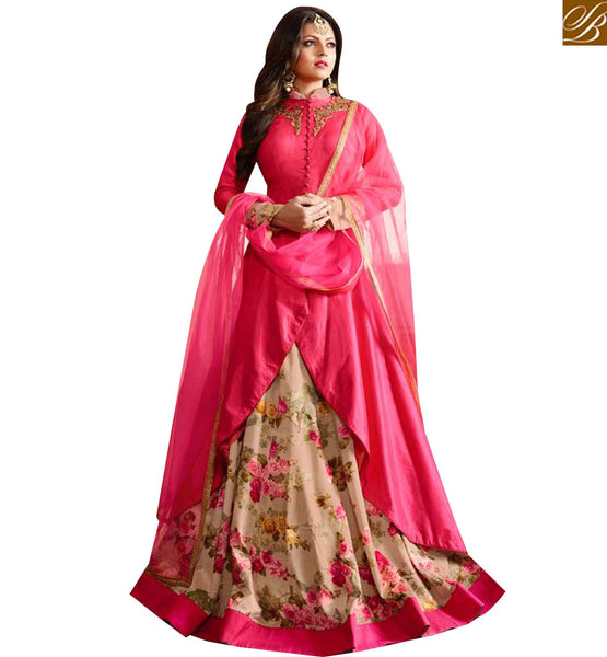 STYLISH BAZAAR BEAUTIFUL PINK AND CREAM DESIGNER DRASHTI DHAMI LEHENGA STYLE PARTY WEAR SUIT LTNT97004