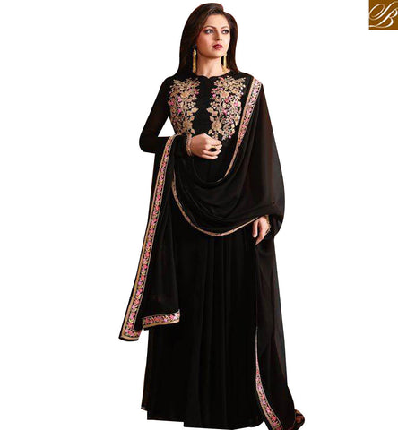 STYLISH BAZAAR BOLLYWOOD ACTRESS DRASHTI DHAMI BLACK GEORGETTE ANARKALI SALWAR SUIT WITH GOWN STYLE LTNT97005