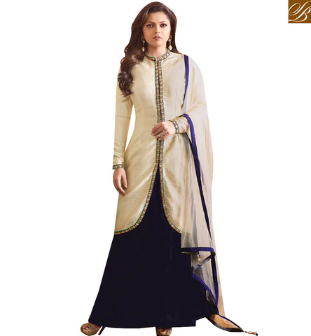 STYLISH BAZAAR ATTRACTIVE OFF WHITE AND BLUE SILK DESIGNER DRASHTI DHAMI PARTY WEAR LEHENGA STYLE SUIT LTNT97006