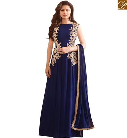 STYLISH BAZAAR DAZZLING ROYAL BLUE GEORGETTE DRASHTI DHAMI PARTY WEAR ANARKALI DRESS WITH GOWN STYLE LTNT97008