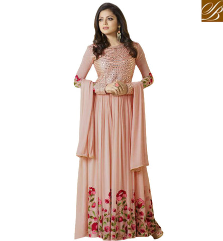 STYLISH BAZAAR TV STARLET DRASHTI DHAMI IN LATEST BEST DESIGNER BABY PINK DRESS COLLECTION OF PARTY WEAR SALWAR SUIT DESIGNS LTNT99002