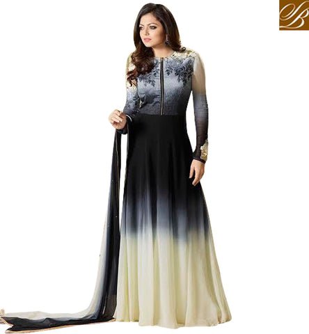 STYLISH BAZAAR BUY DRASHTI DHAMI ETHNIC AND TRENDY FRONT ZIP KAMEEZ EMBROIDERED GEORGETTE PARTY WEAR INDIAN GOWN STYLE WOMANS SUIT ONLINE LTNT99006
