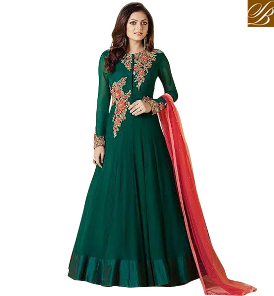 STYLISH BAZAAR INDIAN TV DRAMA ACTRESS DRASHTI DHAMI DESIGNER GREEN SALWAAR DRESS SUIT ONLINE LATEST EVENING GOWN COLLECTION LTNT99007