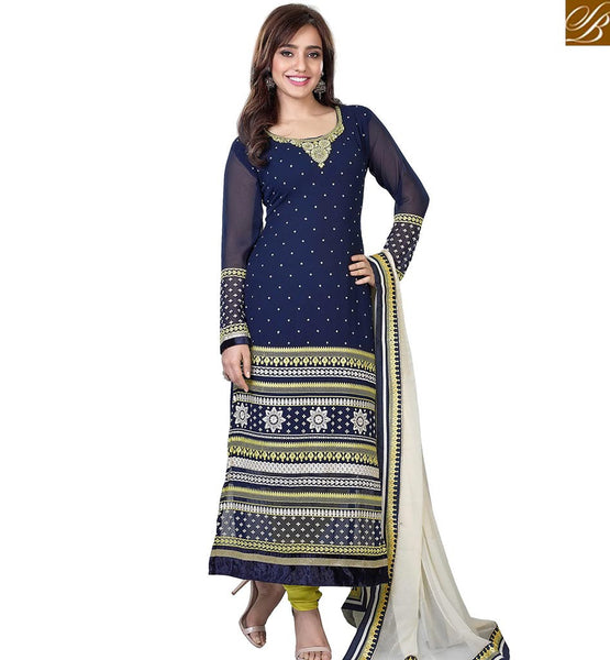 STYLISH BAZAAR WONDERFUL NAVY BLUE GEORGETTE DESIGNER STRAIGHT CUT SALWAR KAMEEZ ABLVY11303