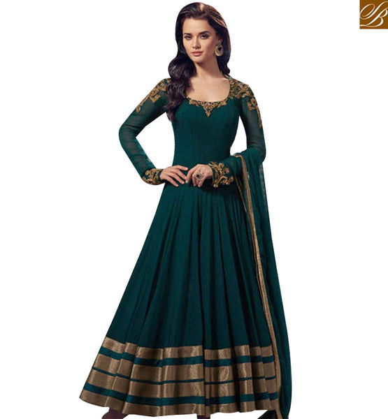 STYLISH BAZAAR LOVELY GREEN NET DESIGNER ANARKALI SALWAR KAMEEZ WELL EMBROIDERED ON NECK AND SHOULDER ABLVY10018