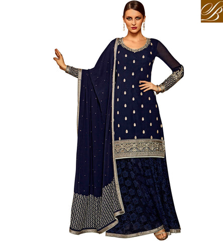 STYLISH BAZAAR SPLENDID BLUE GEORGETTE DESIGNER SUIT HAVING WELL EMBROIDERY WITH LEHENGA STYLE SLETS185