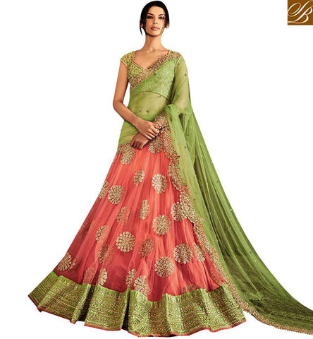 STYLISH BAZAAR REMARKABLE GREEN SILK AND PEACH NET DESIGNER LEHENGA SAREE WITH GREEN EMBROIDERED PALLU NKNET5056