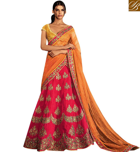 STYLISH BAZAAR PRECIOUS MUSTARD AND PINK SILK DESIGNER LEHENGA SAREE WITH ALL OVER EMBROIDERY WORK NKNET5057
