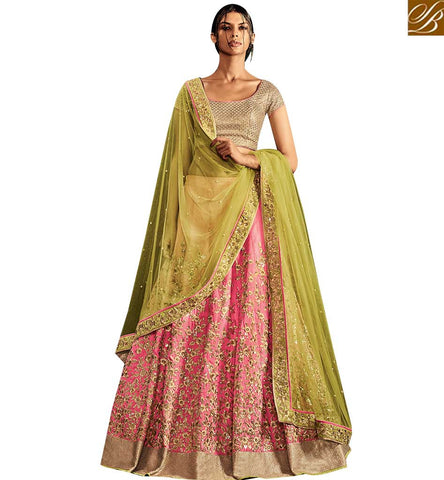 STYLISH BAZAAR WEAR INDIAN TRADITIONAL BEIGE AND PINK SILK PARTY WEAR LEHENGA SAREE WITH GREEN NET PALLU NKNET5059