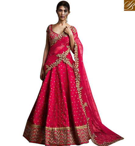 STYLISH BAZAAR SUPERB PINK PARIS SILK ALL OVER EMBROIDERED PARTY WEAR LEHENGA SAREE WITH NET PALLU NKNET5060