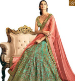 STYLISH BAZAAR PRESENTS BEAUTIFUL SEA GREEN SILK HAVING SEQUENCE EMBROIDERY WORK WITH PEACH NET PALLU NKNET5061