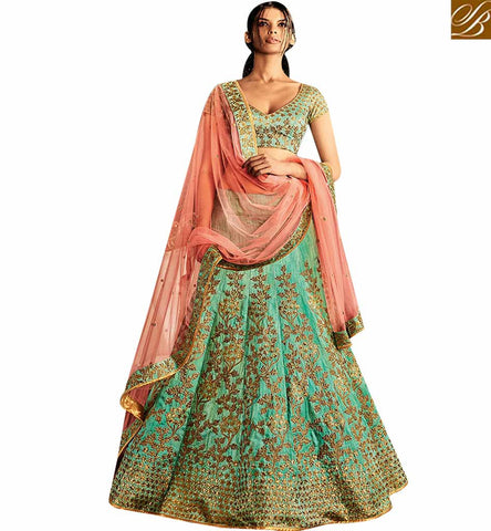STYLISH BAZAAR BEAUTIFUL SEA GREEN SILK HAVING SEQUENCE EMBROIDERY WORK WITH PEACH NET PALLU NKNET5061