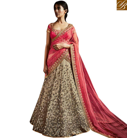 STYLISH BAZAAR CAPTIVATING PINK SILK AND BEIGE NET ALL OVER HEAVY EMBELLISHED PARTY WEAR LEHENGA SAREE NKNET5063