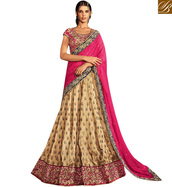 STYLISH BAZAAR FASCINATING BEIGE AND PINK SILK DESIGNER LEHENGA SAREE HAVING PINK CHIFFON PALLU NKNET5067